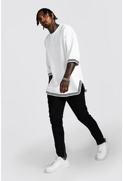 White Oversized 3/4 Drop Shoulder MAN Tape Tracksuit