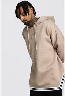 Mens Taupe Oversized Drop Shoulder Hooded Tape Tracksuit