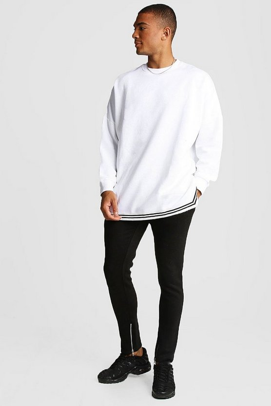 Black MAN Oversized Drop Shoulder Sweater Tracksuit