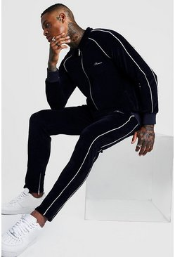 Mens Navy MAN Signature Tracksuit With Piping