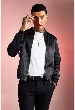 Mens Black Satin Bomber Jacket