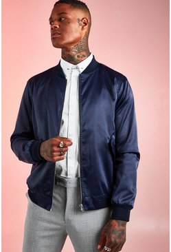 Mens Navy Satin MA1 Bomber Jacket