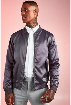 Mens Charcoal Satin MA1 Bomber Jacket