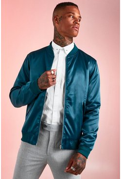 Mens Emerald Satin MA1 Bomber Jacket