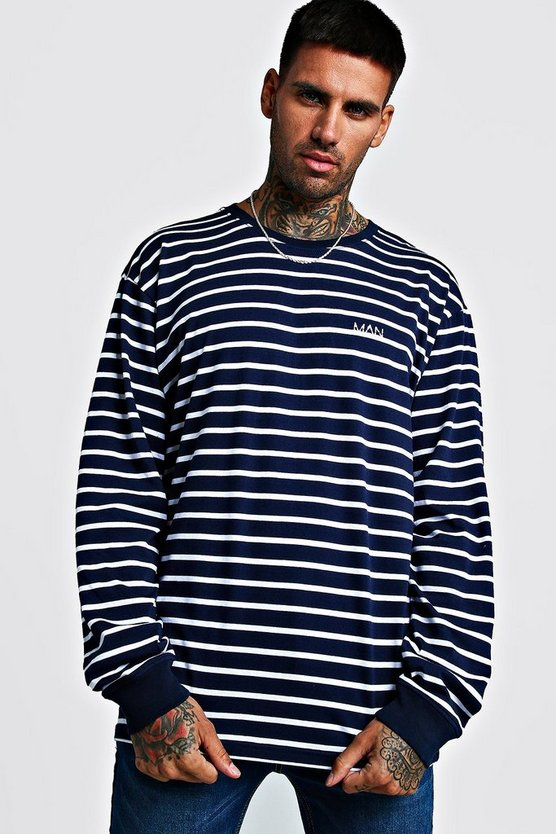 Mens Navy MAN Loose Fit Striped Long Sleeve T-Shirt