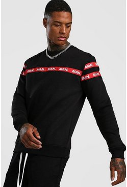 Mens Black MAN Taped Sweatshirt