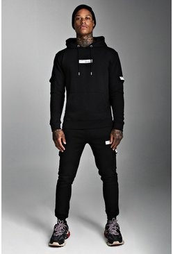 Mens Black MAN Official Hooded Cargo Tracksuit With Badge