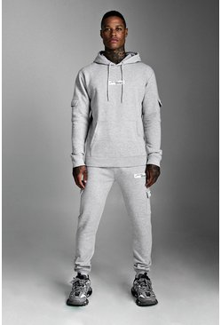 Grey MAN Official Hooded Cargo Tracksuit With Badge