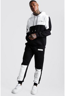 Mens White MAN Official Badge Colour Block Hooded Tracksuit