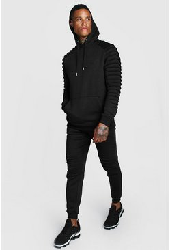 Mens Black Man Signature Biker Panelled Hooded Tracksuit
