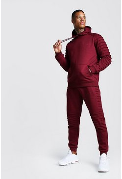 Mens Wine Man Signature Biker Panelled Hooded Tracksuit