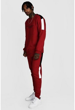 Survêtement sweat colorblock MAN Officiel, Rouge, Homme