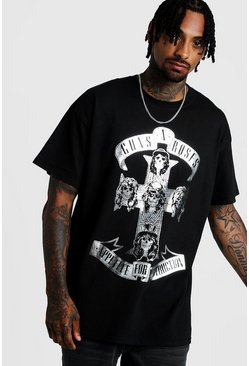 Mens Black Oversized Metallic Foil Guns Roses License Tee