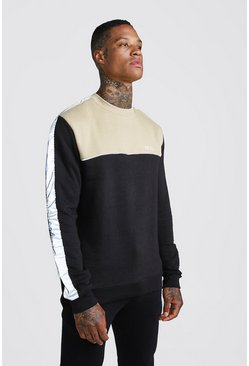 Mens Black MAN Sweater With Panelling
