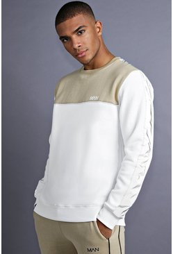 Sweat MAN avec empiècements, Blanc, Homme