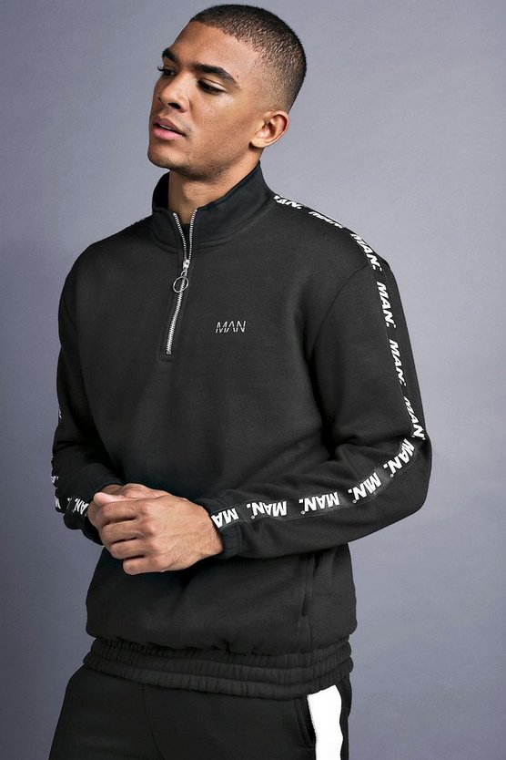 Mens Black MAN Funnel Neck Sweater With Tape Detail
