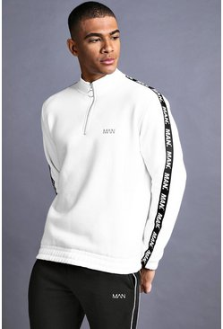 Mens White MAN Funnel Neck Sweater With Tape Detail