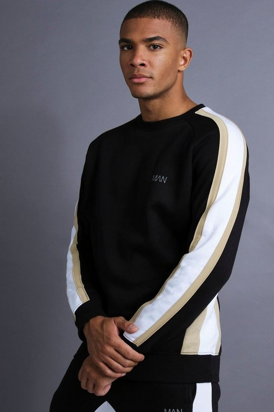 Black MAN Raglan Sweater With Panelling