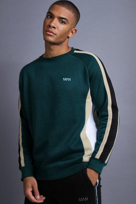 Mens Teal MAN Raglan Sweater With Panelling