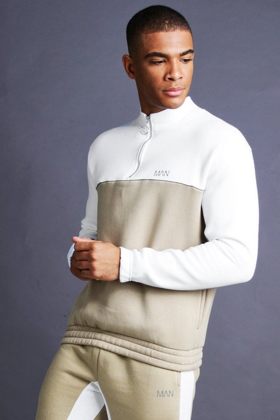 Mens Taupe MAN 1/4 Zip Funnel Neck With Piping