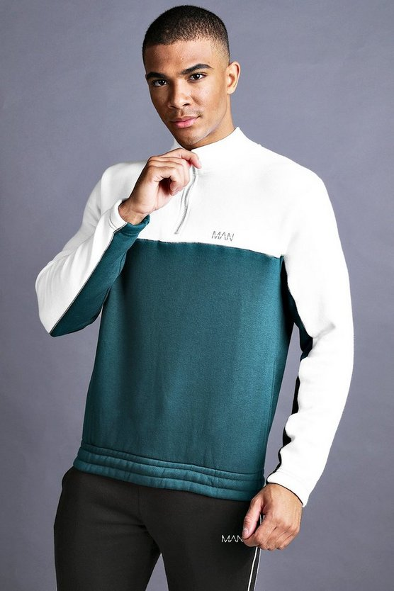 Mens Teal MAN 1/4 Zip Funnel Neck With Piping