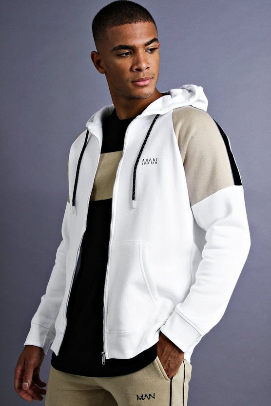 Mens White MAN Raglan Hoodie With Panel Detail
