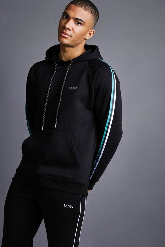 Mens Black MAN Raglan Hoodie With Tape Detail