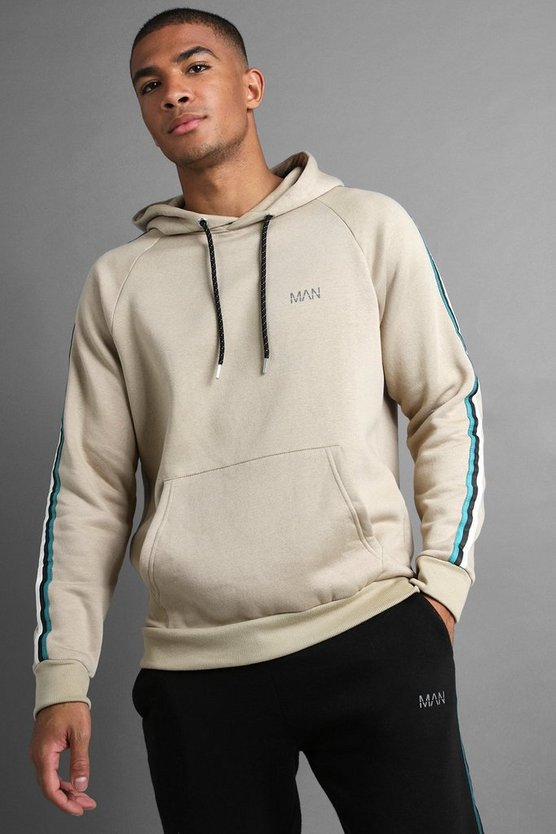 Mens Taupe MAN Raglan Hoodie With Tape Detail
