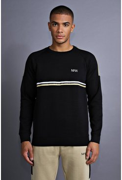 Mens Black MAN Raglan Sweater With Tape Detail