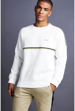 Mens White MAN Raglan Sweater With Tape Detail