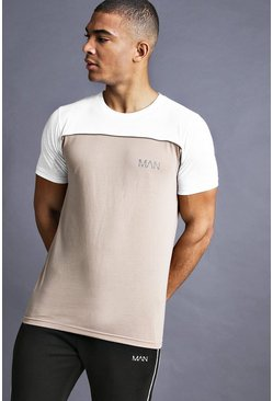 Mens Taupe MAN Fit T-Shirt With Panelling