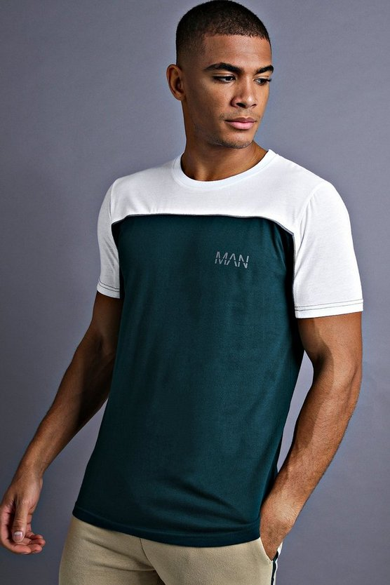Mens Teal MAN Fit T-Shirt With Panelling