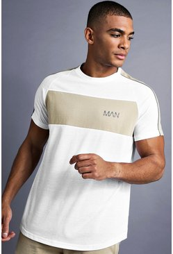 White MAN Longline Curved Hem Fit T-Shirt With Panelling