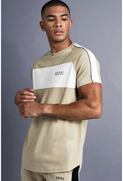 Mens Taupe MAN Longline Curved Hem Fit T-Shirt With Panelling
