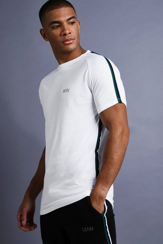 Mens White MAN Muscle Fit Raglan T-Shirt With Tape