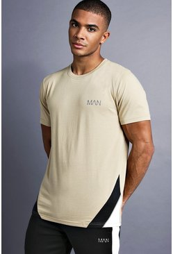 Mens Taupe MAN T-Shirt With Panelling And Piping