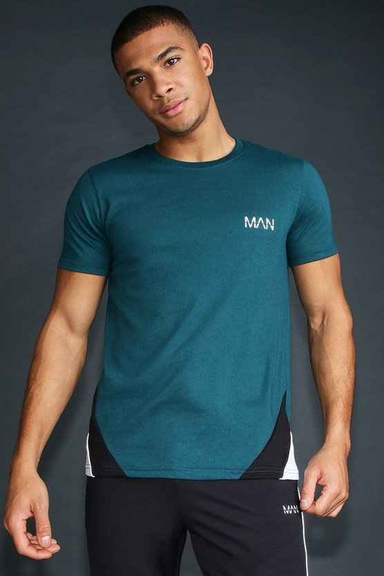 Teal MAN T-Shirt With Panelling And Piping