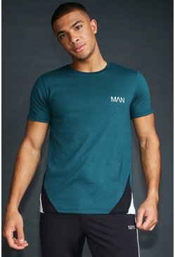 Mens Teal MAN T-Shirt With Panelling And Piping