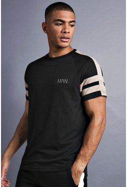 Mens Black MAN Raglan T-Shirt With Tape Detail