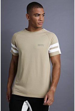 Mens Taupe MAN Raglan T-Shirt With Tape Detail