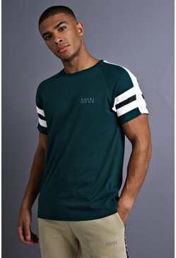 Mens Teal MAN Raglan T-Shirt With Tape Detail