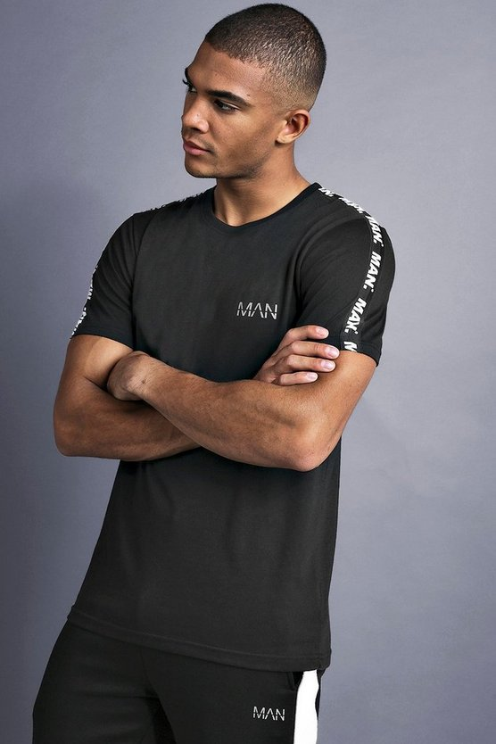 Mens Black MAN T-Shirt With Tape Detail