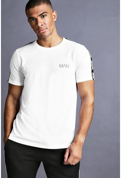 Mens White MAN T-Shirt With Tape Detail