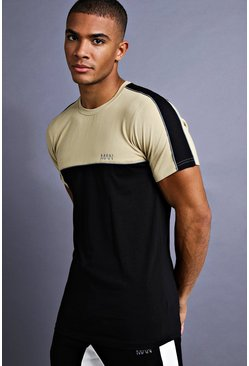 Mens Black MAN Muscle Fit T-Shirt With Piping Detail