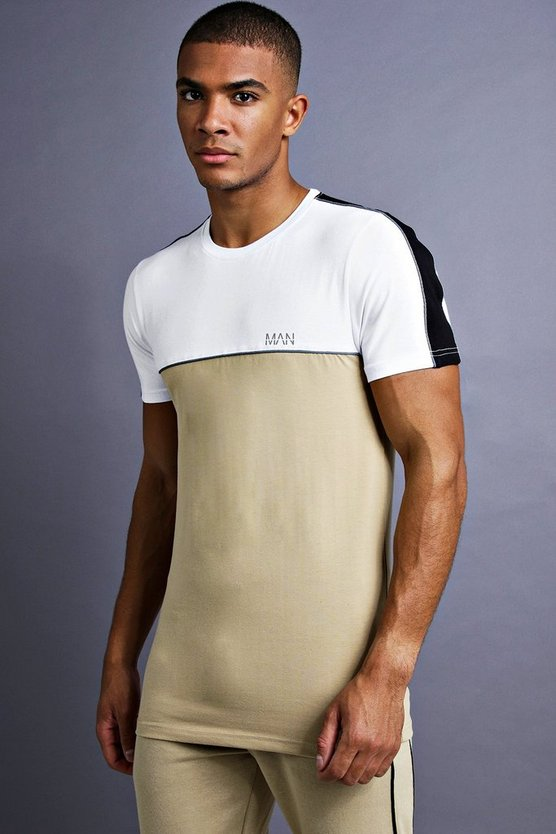 Mens Taupe MAN Muscle Fit T-Shirt With Piping Detail