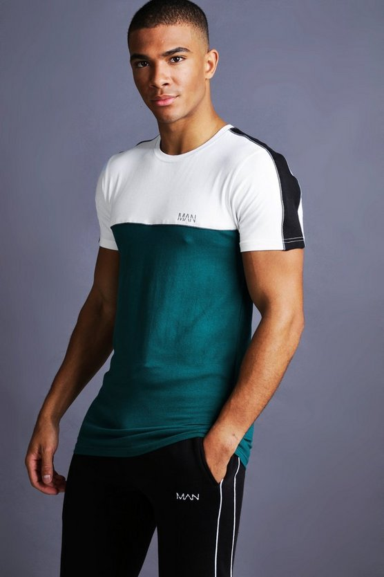 Mens Teal MAN Muscle Fit T-Shirt With Piping Detail