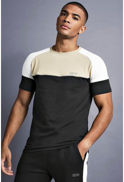 Mens Black MAN Muscle Fit Raglan T-Shirt With Panelling