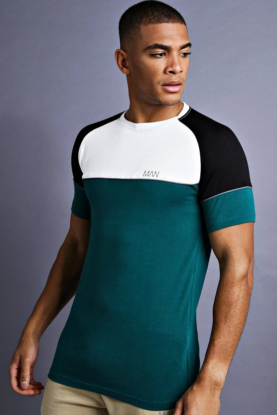 Mens Teal MAN Muscle Fit Raglan T-Shirt With Panelling
