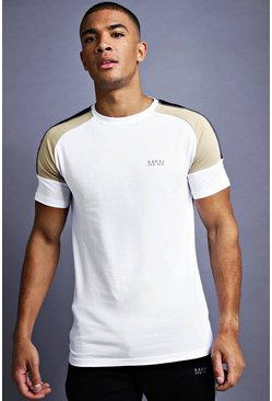 Mens White MAN Muscle Fit Raglan Panelled T-Shirt