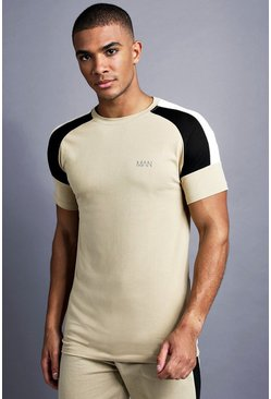 T-shirt raglan coupe Fit à empiècement MAN, Taupe, Homme